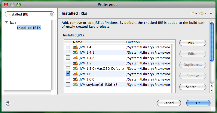 how to change eclipse workspace default jre