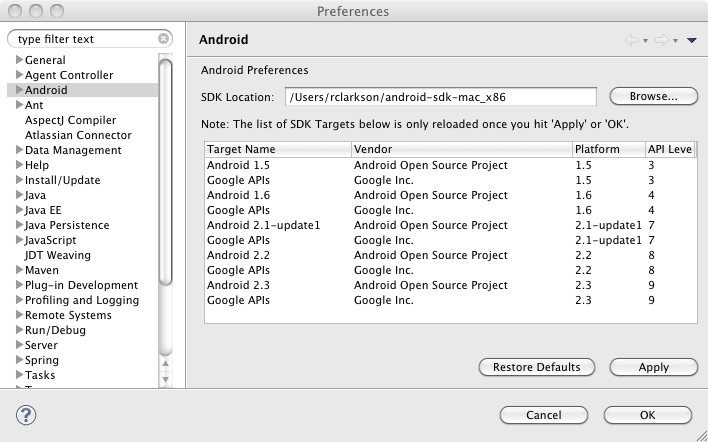 eclipse-android-sdk-location