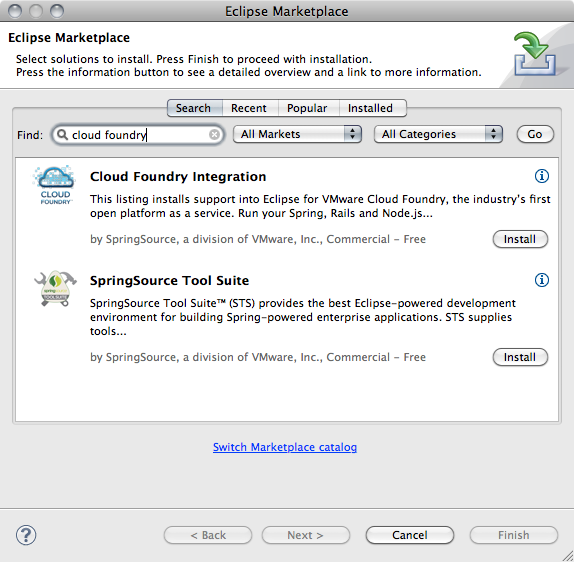 Using Cloud Foundry from STS