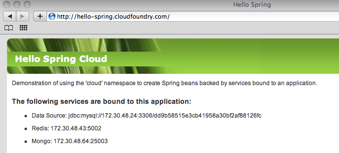 Hello Spring deployed in the cloud