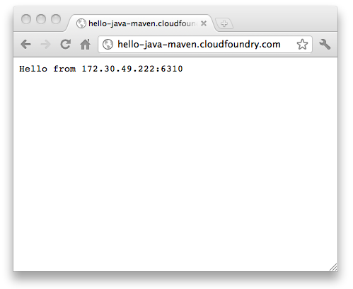 Screenshot of the deployed Cloud Foundry sample application